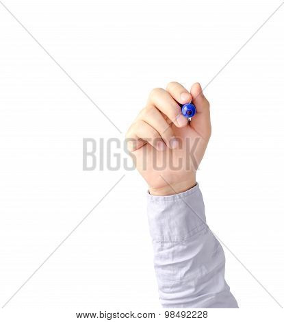 Hand Of Young Business Man Writing With Blue Pen Maker Isolate On White With Clipping Path