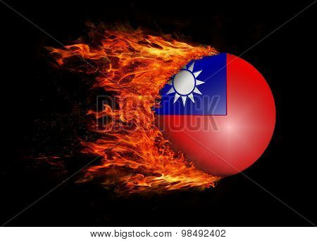 Flag With A Trail Of Fire - Taiwan