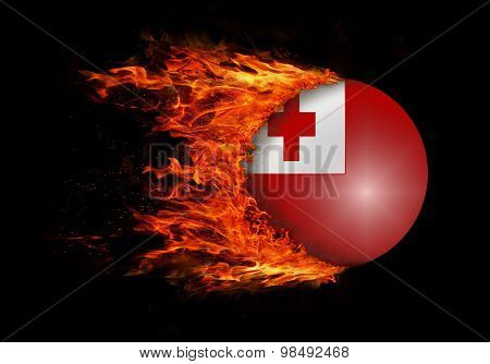 Flag With A Trail Of Fire - Tonga
