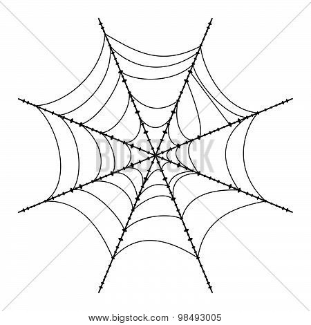 Spider Web Isolated On White Background. Vector Illustration.
