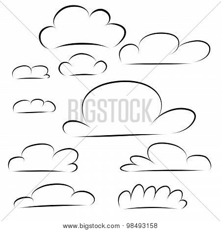 Cloud Icon Handdraw Outline Isolated On White Background. Vector Illustrator