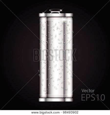 Can Aluminium Slim Blank Realistic. Vector Illustration.