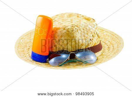 Summer Concept : Beach Items - Hat With Sunglasses And Body Lotion On White Background