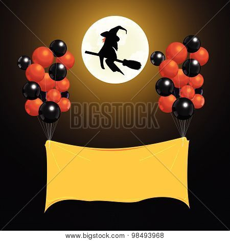 Label Balloon Up In The Air With Magician Background. Vector Illustration.
