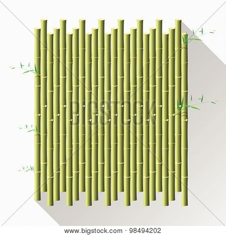 Green Bamboo Mat, Wal, Diy, Isolate On White Background. Vector Illustration.