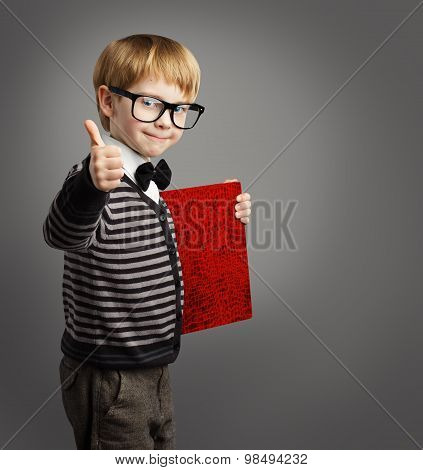 Kid In Glasses, Child Advertiser With Certificate Book, School Boy Showing Thumb Up, Certification
