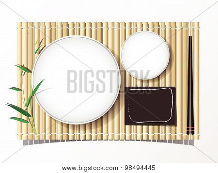 Bamboo Mat And Dish And Chopsticks Set Lunch Top View Bakcground. Vector Illustration.