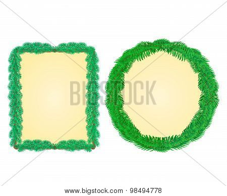 Christmas Frame Rectangle And A Circle Vector