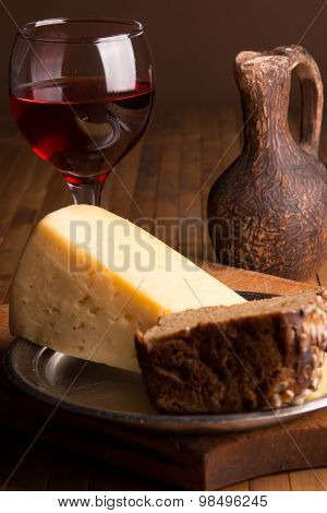 Still Life With Rye Bread And Cheese