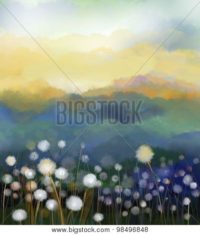 Abstract Oil Painting White Dandelion Flowers