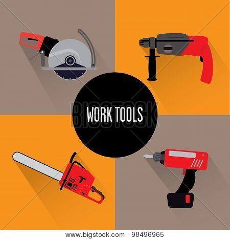 Set of four tools
