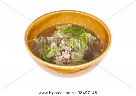 Soup Made From Pork And Vegetable, Isolated