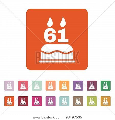 The birthday cake with candles in the form of number 61 icon. Birthday symbol. Flat