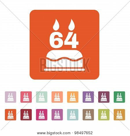 The birthday cake with candles in the form of number 64 icon. Birthday symbol. Flat