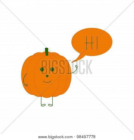 Funny Pumpkin With Speech Bubble