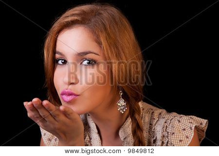Pretty Young Caucasian Girl Sending Kiss, With Golden Reflexion, Isolated On Black, Studio Shot