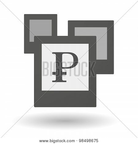 Isolated Group Of Photos With A Ruble Sign