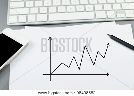 Growth Chart On Paper With Pencil And Smart Phone On Computer Desk