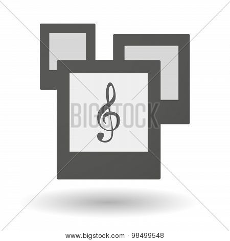 Isolated Group Of Photos With A G Clef