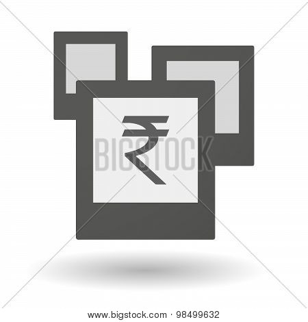 Isolated Group Of Photos With A Rupee Sign
