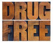 drug free word abstract in vintage letterpress wood type printing blocks poster