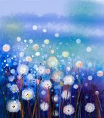 Abstract Oil Painting White Flowers Field In Soft Color