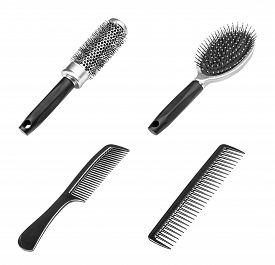stock photo of hair comb  - Set of different combs barber comb salon comb hair black comb isolated on white - JPG