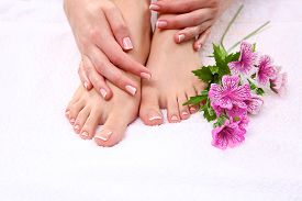 pic of pedicure  - Beautiful feet with perfect spa french nail pedicure  - JPG