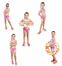 stock photo of little girls photo-models  - Collection of photos cute little girl with swimming ring in sunglasses isolated on a white - JPG