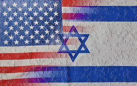 stock photo of prime-minister  - Cracked blended mix of USA and Israel flags signifying the recent clash and rivalry between the nations and specifically between President of the US and the Prime Minister of Israel - JPG