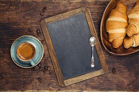 picture of continental food  - Croissants and coffee with blackboard - JPG