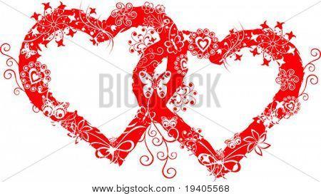 Marco de San Valentín de Grunge, corazones, vector