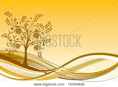 Tree background, vector illustration