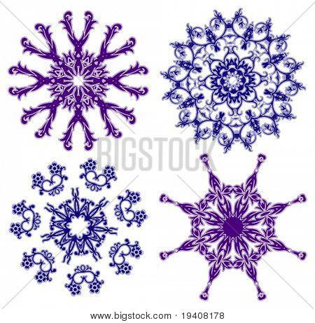 Floral snowflakes, set, element for design vector illustration