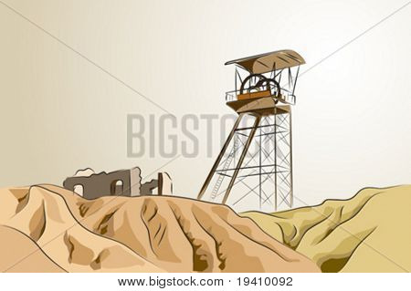 Abandoned mine with tower and ruins - Vector illustration