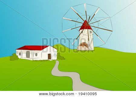 Spanish windmill with typical house of La Mancha - Vector illustration