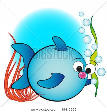 Fish, air bubbles and anemone - Card for kids - Scrapbook and labels useful