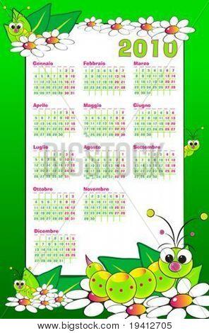 Kid-italienischen Kalender 2010 mit Larven und Blumen