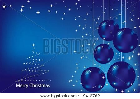 Christmas card with blue balls and stars