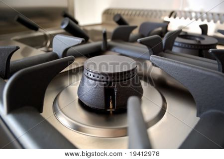 Open burner, professional kitchen detail