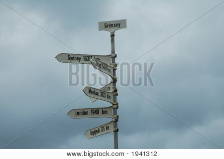 Signpost, Grimsey, Iceland
