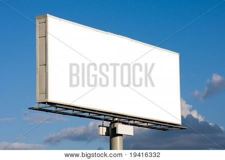 Blank billboard on blue sky with clouds ready for your advertisement