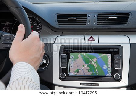 GPS navigation in interior of luxury car