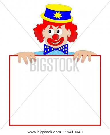 Clown Holding a Blank Sign - Vector Illustration