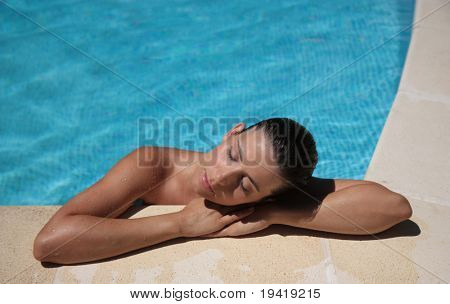 Cute lady holding sitting spa resort