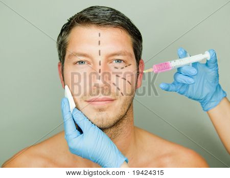 Beautifying a male with injection