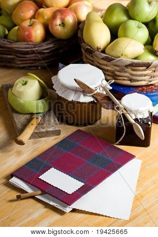 recipe book and apple jam