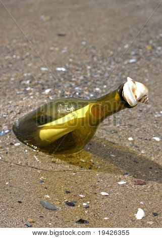note in a bottle on the shore