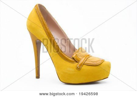 yellow  woman's high heel shoe
