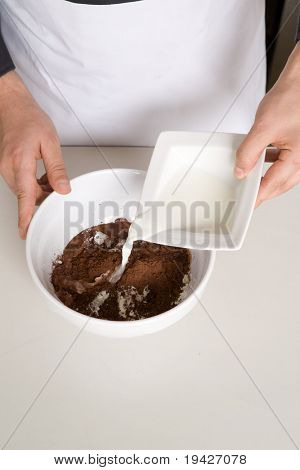 preparing cake